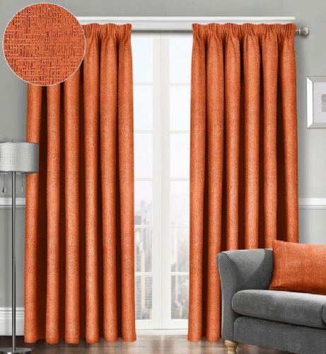 SEMI PLAIN READY MADE THERMAL WOVEN MATERIAL DIMOUT PENCIL PLEAT PAIR CURTAINS ORANGE COLOUR